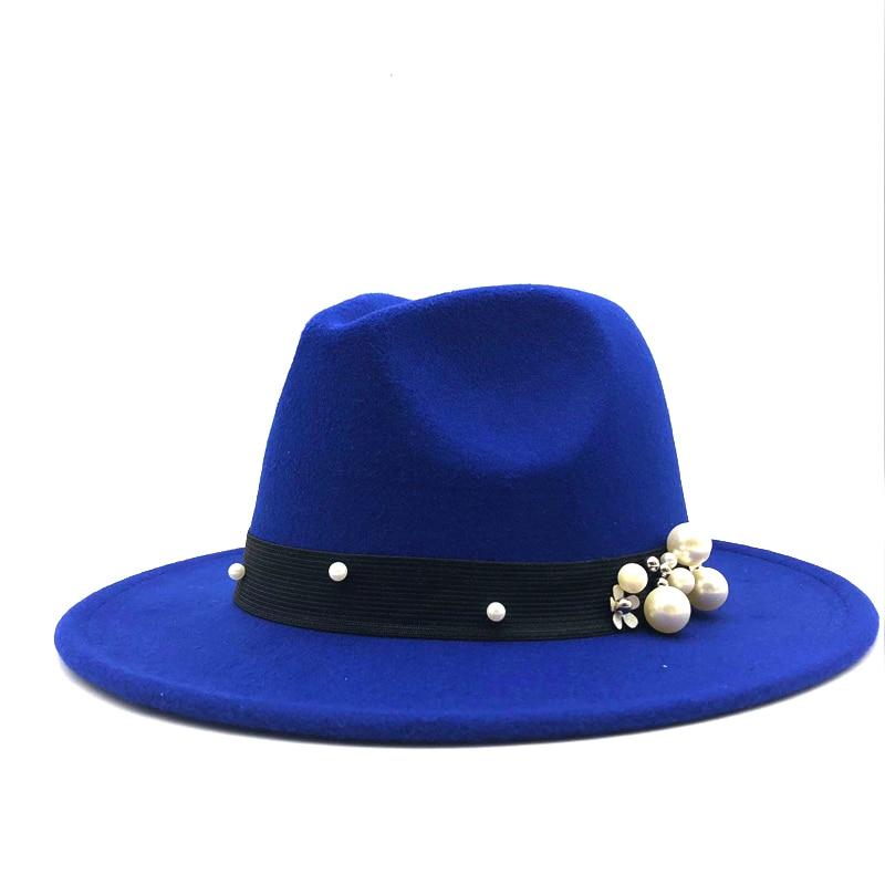 Wool Fedora Hat Hawkins Felt Cap Wide Brim Ladies Trilby Chapeu Feminino Hat Women Pearls Jazz Church Godfather Sombrero Caps