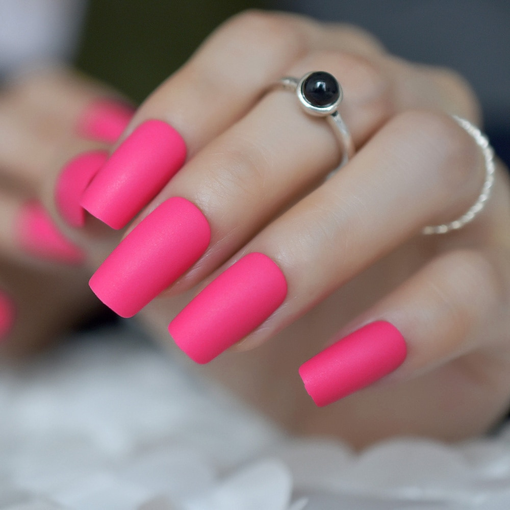 Квадратные матовые накладные ногти розово-красный дизайн ногтей искусственные кончики Полные Обертывания Длинные средние DIY Советы просто...