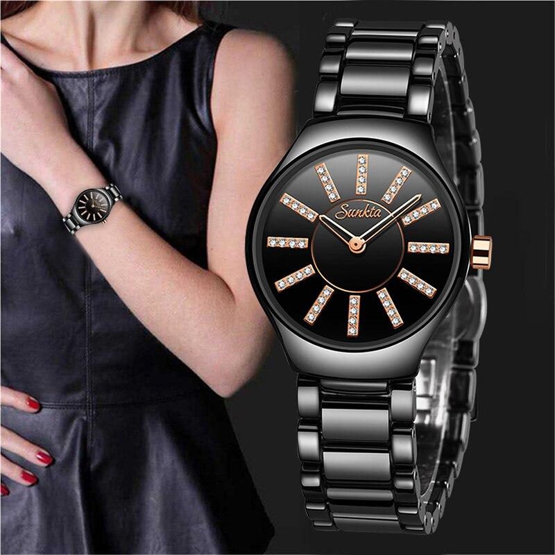 Reloj de lujo SUNKTA para mujer, creativo reloj de pulsera de cerámica para mujer, reloj femenino