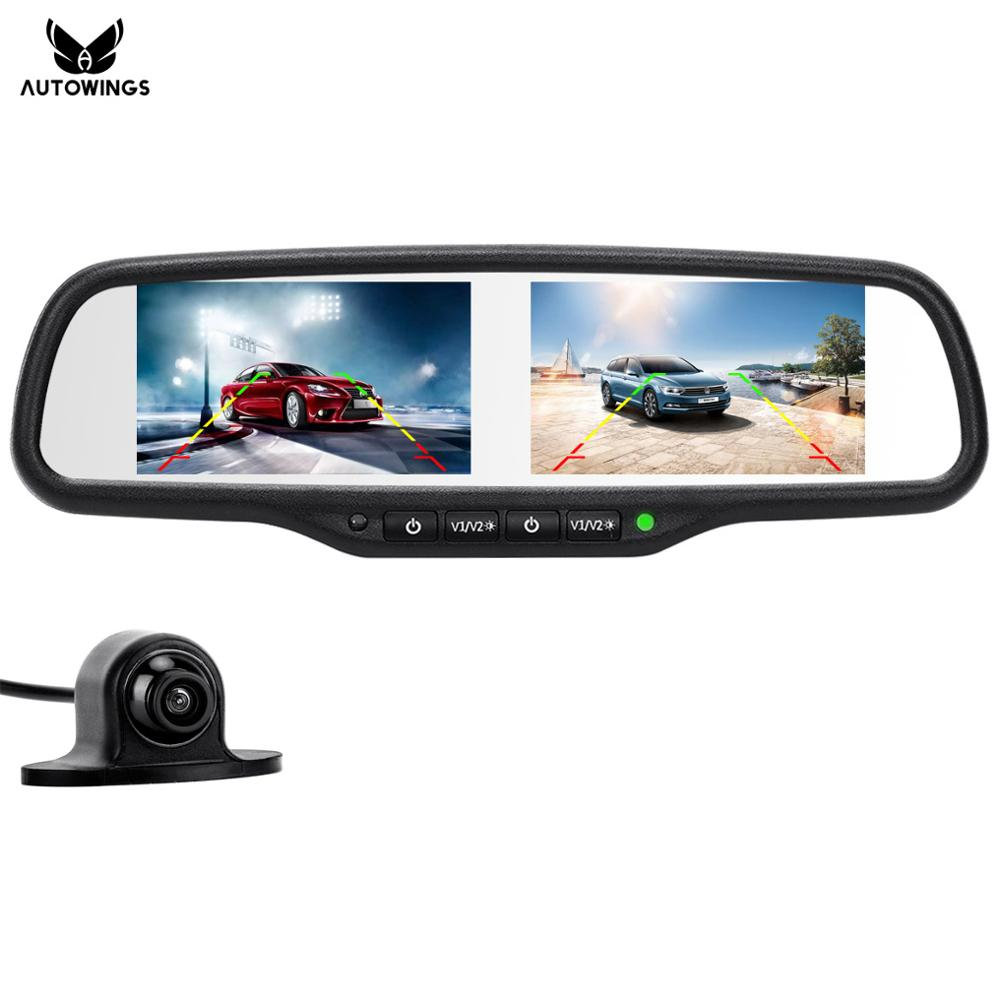 2 en 1 de 4,3 pulgadas Dual 800*480 del coche de la pantalla de monitor de espejo retrovisor reproductor de Video HD CDD Mini coche frente cámara de visión trasera para estacionamiento