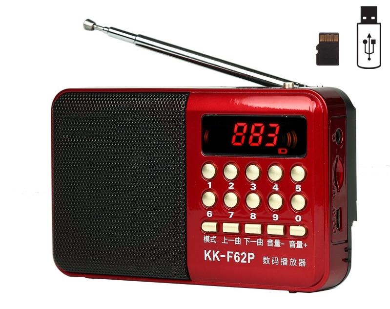 Radio de bolsillo FM Radio receptor Mini portátil recargable Radio receptor altavoz soporte USB TF tarjeta música MP3 Player