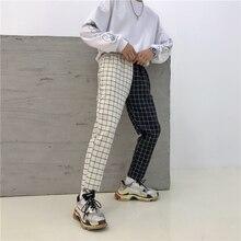 Patchwork Contrast Block Plaid Slim Drawstring High Waist Summer Ankle-Length Pocket Women Pant Streetwear Korean Casual Trouser