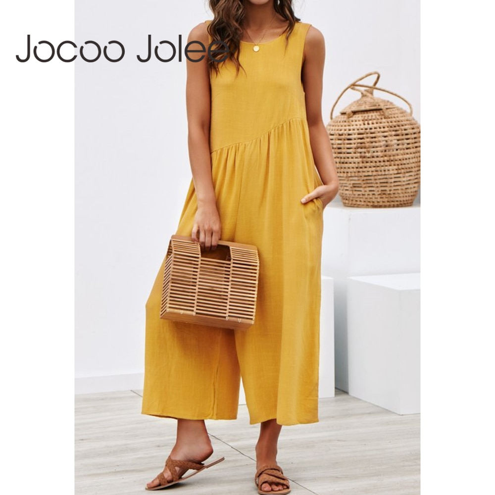 Jocoo Jolee Women Casual Loose Long Jumpsuit Solid Strap Wide Leg Jumpsuit Tie Up Backless Solid Color Vacation macacao feminino