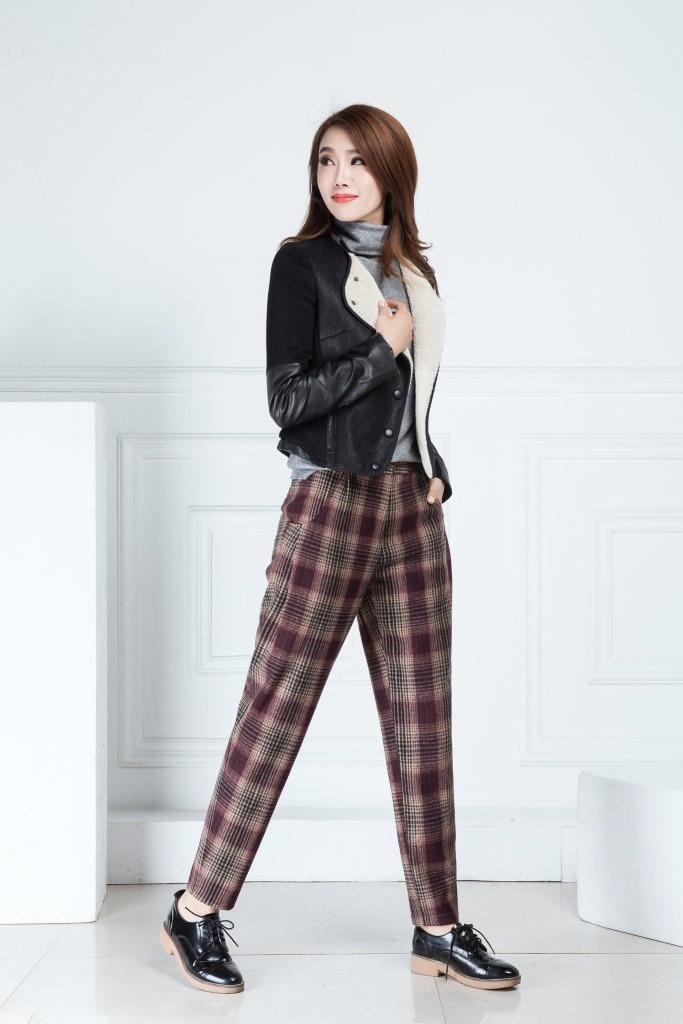 Shuchan Plaid Warmed Women's Pants 70% Woolen Women's Winter Fashion 2018 High Waist Trousers For Women Harem Pants winter