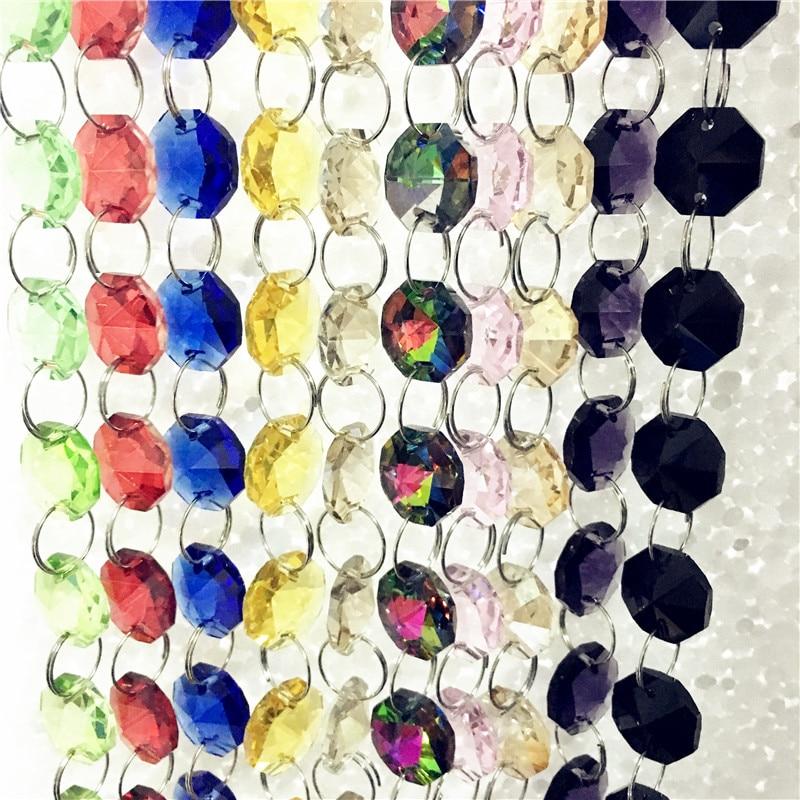 Contas de Cristal Decoração da Festa de Casamento Decoração da Lâmpada Misturada Guirlanda Metros – Lote 14 Milímetros Octogonal Vertente Cor 100