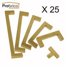 Probrico 25PCS Kitchen Cupboard Handles And Knobs Golden Brass Cabinet Door Wardrobe Pulls 12mm Square Bar Furniture Hardware