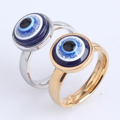 Ojo de la suerte bandas de boda Evil Eye Beads Ring mujeres niñas joyería de moda Color oro plata anillo aleación joyería de lujo 2019 nuevo
