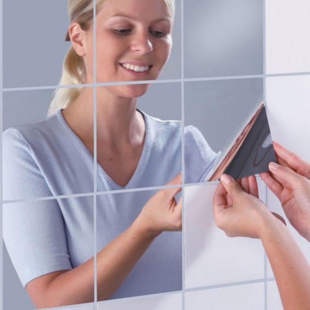 9/6 Uds películas autoadhesivas decorativas para muebles 15X15cm cuadrado PS pegatinas de pared de papel de espejo de alta calidad