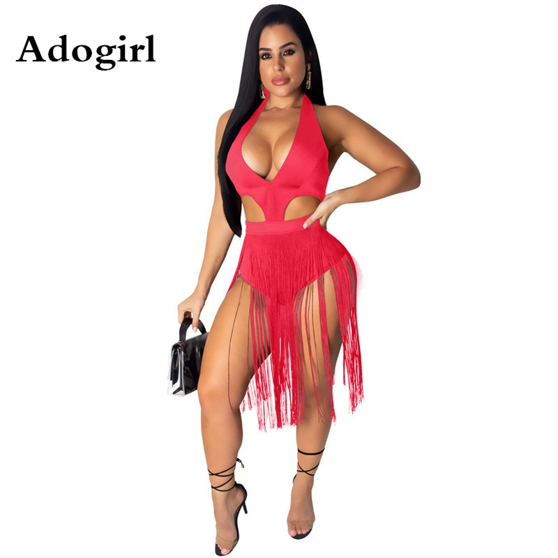 Adogirl Women Halter V-neck Bikini Playsuit Sleeveless Tassel Spliced Beach Bodysuits Summer Hollow Out Night Club Playsuit