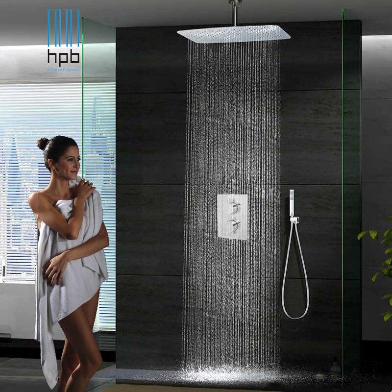 55cm x 35cm baño en la pared ducha cuadrado Chuveiro top spray booster termostático o sistema de ducha de lluvia de agua caliente y fría
