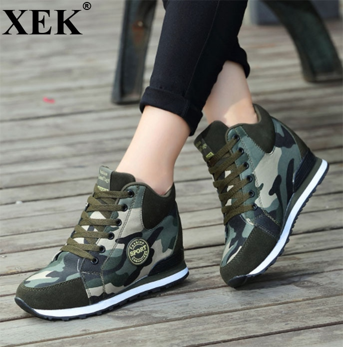 XEK Casual Shoes 2018 Autumn Winter New Brand Fashion High-Top Camouflage Women Shoes Comfort Height