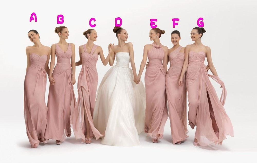 Six Style Pink Chiffon Floor Length Ruffle A-Line Long Custom made bridesmaid dresses 2017 formal prom dresses vestidos WD96