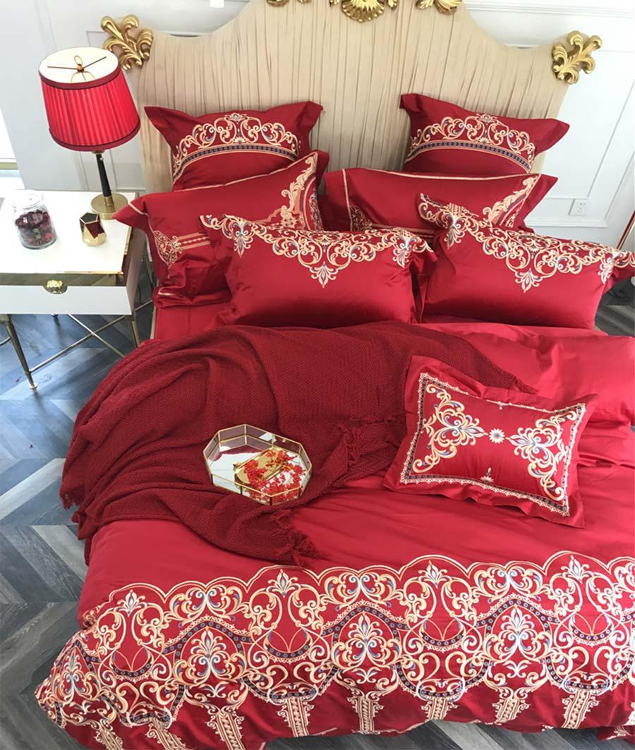 Juego de cama bordado elegante, Sábana de cama tradicional oriental de algodón queen king, funda de almohada, funda de edredón