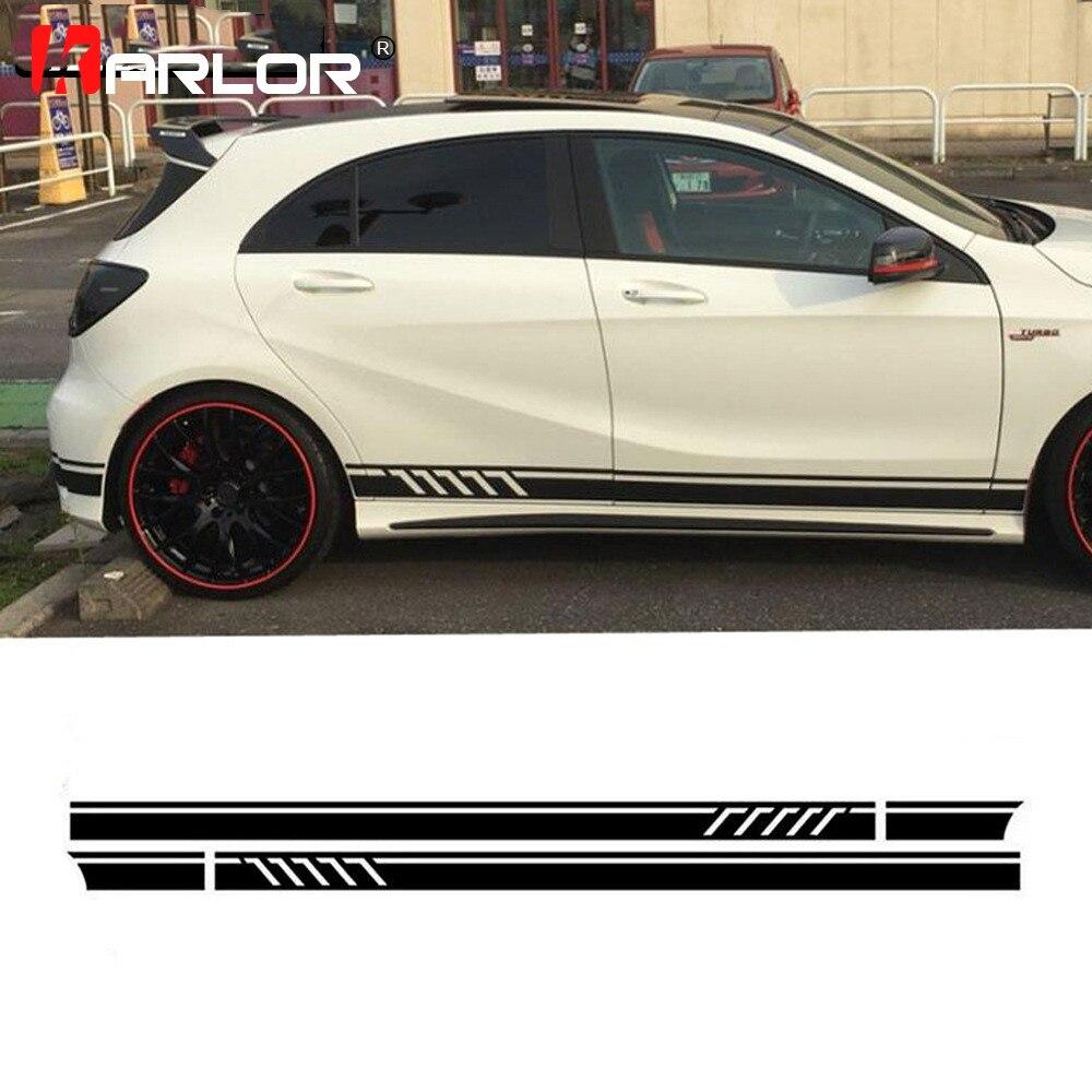 2 unids/lote de pegatinas de faldón lateral para coche, calcomanía de vinilo para Mercedes Benz AMG A C clase W177 W205 W203 W204, accesorios para coche