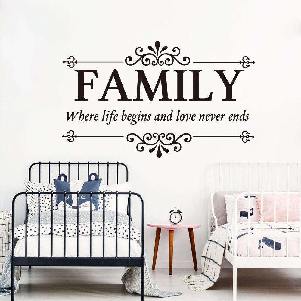 Adhesivos de pared con frases para familia, donde la vida empieza, el amor nunca finaliza, pegatina de amor familiar con frase para pared grande para dormitorio y sala de estar, vinilo de cocina