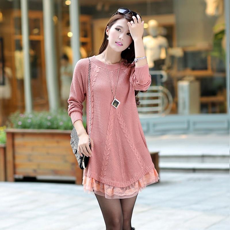 f760fee8 Free Size Maternity Clothes Bud Silk Dresses Pregnant Nursing Dress  Pregnancy Knitting Sweater Pink Long Sleeve