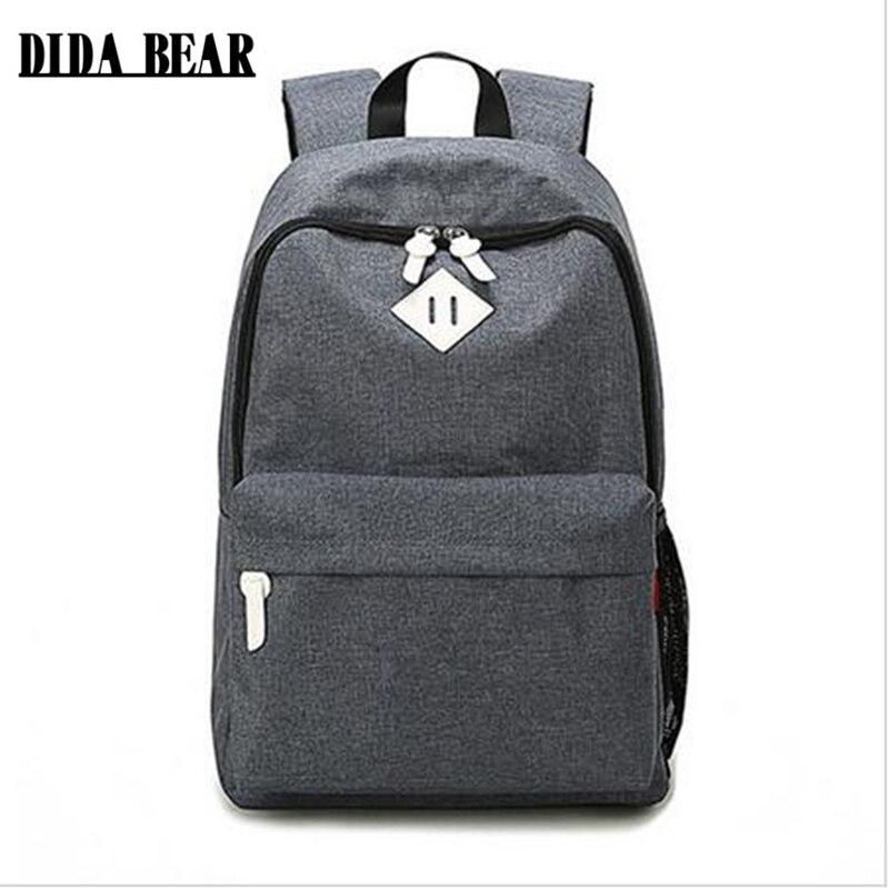 DIDA, moda de oso, mochilas de lona grandes, mochilas de escuela para niñas, niños, adolescentes, bolsas para portátil, mochila de viaje, mochila gris, mujeres y hombres