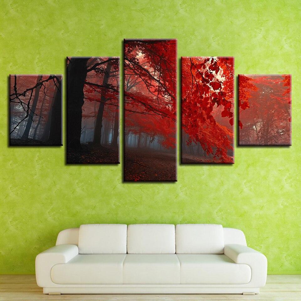 Холст гостиной домашний декор HD Современный 5 панель красный лес пейзаж напечатанные картины настенная художественная модульная рамка для ...