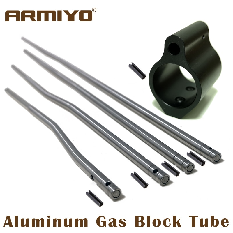 Armiyo Aluminum Rifle Tactical Gas Block Tube Low Profile Set Screw Standard Barrel Roll Pin 0.75 Inch Hunting Accessories m4