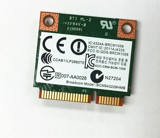 SSEA Новая беспроводная карта Broadcom BCM943228HMB wifi 4,0 Bluetooth комбо Половина мини PCI-E 802.11b/g/n 2,4G/5 GHz для HP