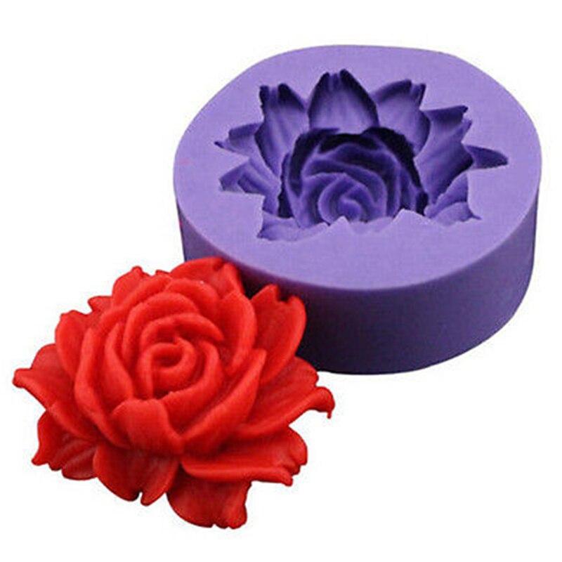 ANGRLY 3D molde de silicona con forma de Rosa Fondant pastel chocolate de decoración para jabón o galleta Fimo resina de arcilla polimérica para hornear moldes herramientas