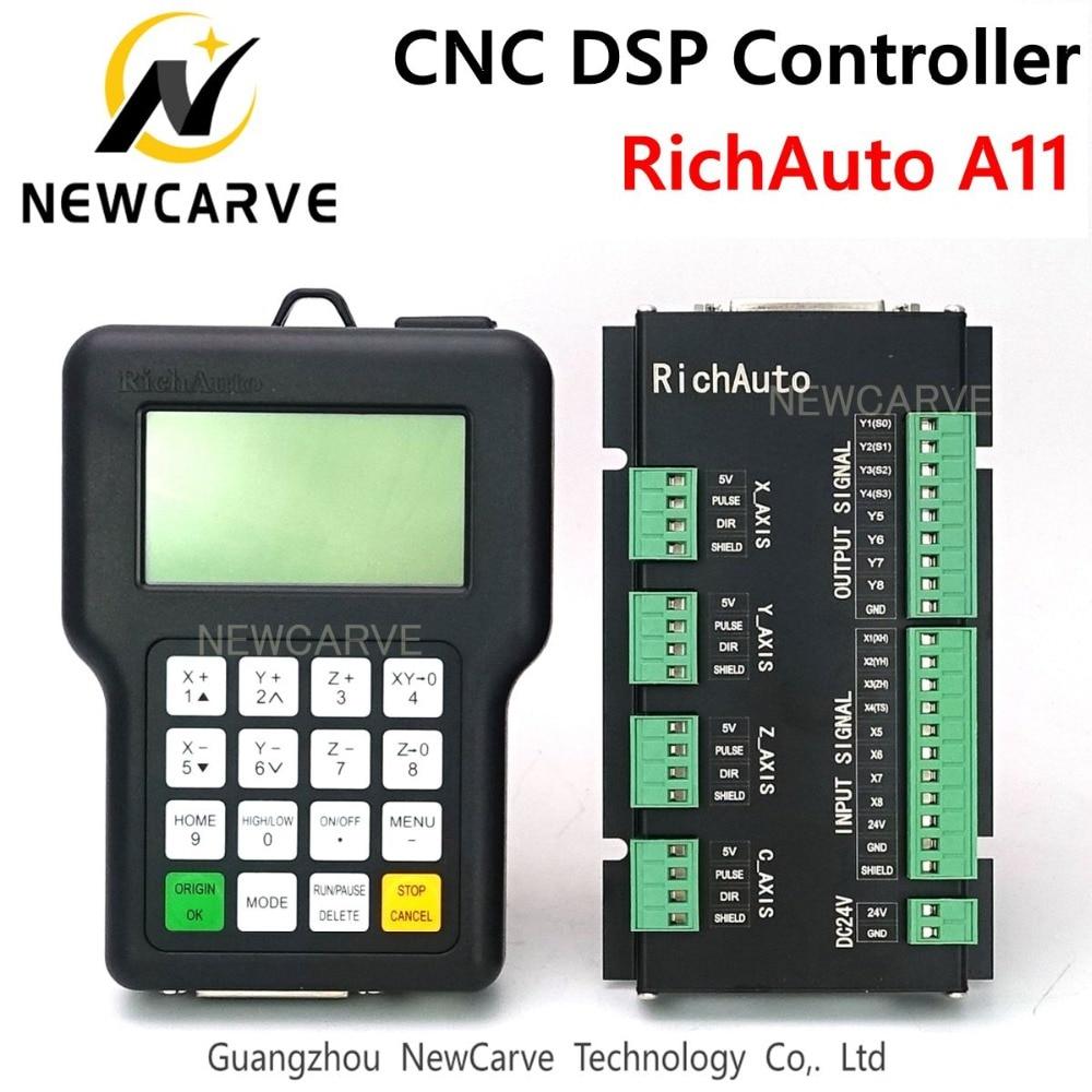 CNC تحكم RichAuto DSP A11 A11S A11E 3 محور USB تحكم عن بعد ل CNC راوتر نظام التحكم اليدوي NEWCARVE