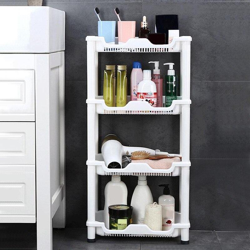 Shuang Qing-رف بلاستيكي متعدد الأغراض للحمام ، 4 طبقات ، رف تخزين جانبي للثلاجة ، SQ-1966