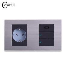 Coswall 16a tomada de parede padrão da ue + porta de carregamento usb para saída móvel 5 v 2.1a 2 gang 2 vias interruptor led indicador 160*86mm