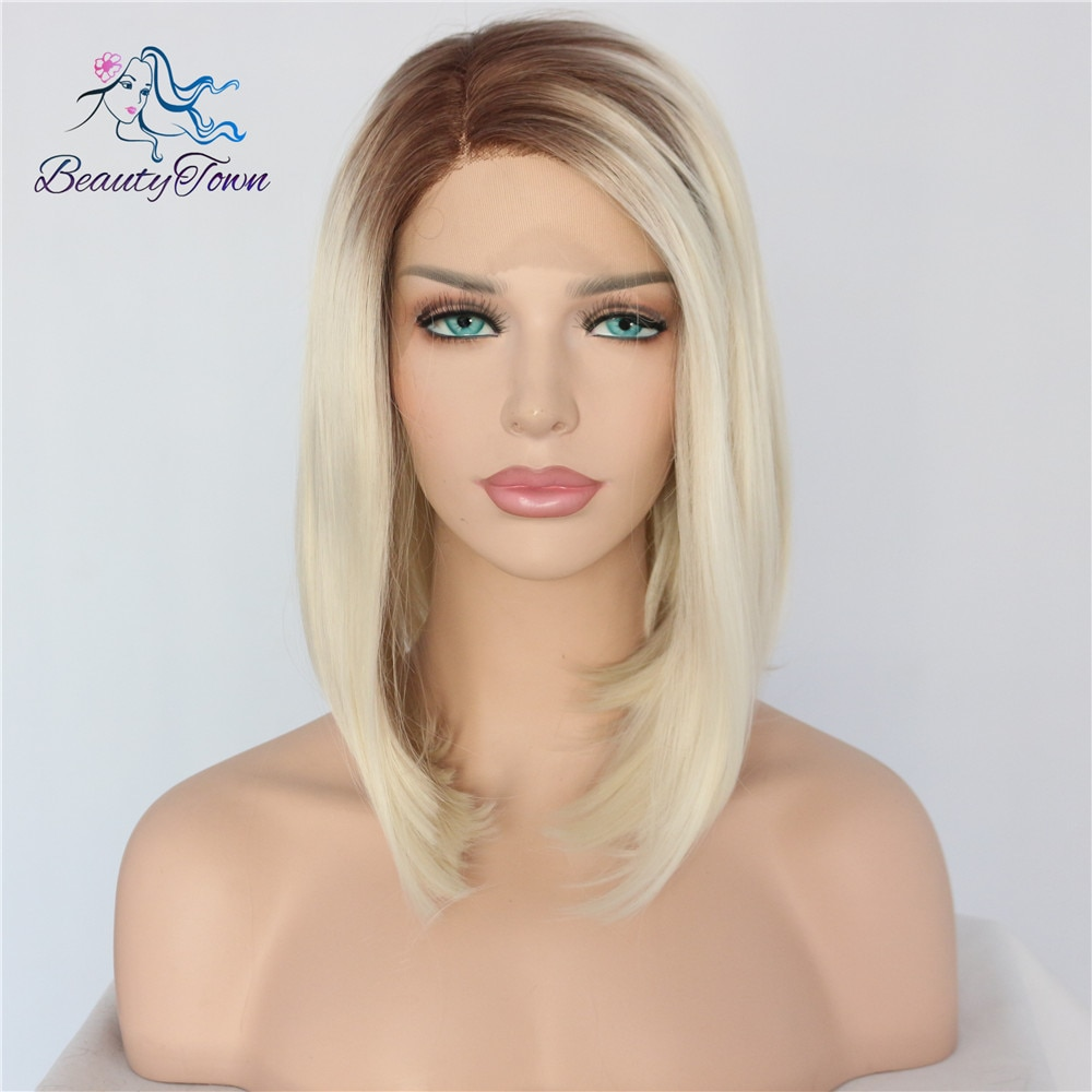 BeautyTown, peluca corta Bobo, Marrón Rubio degradado, bloguero atado a mano, maquillaje diario, encaje sintético, frontal de boda, Cosplay para fiesta