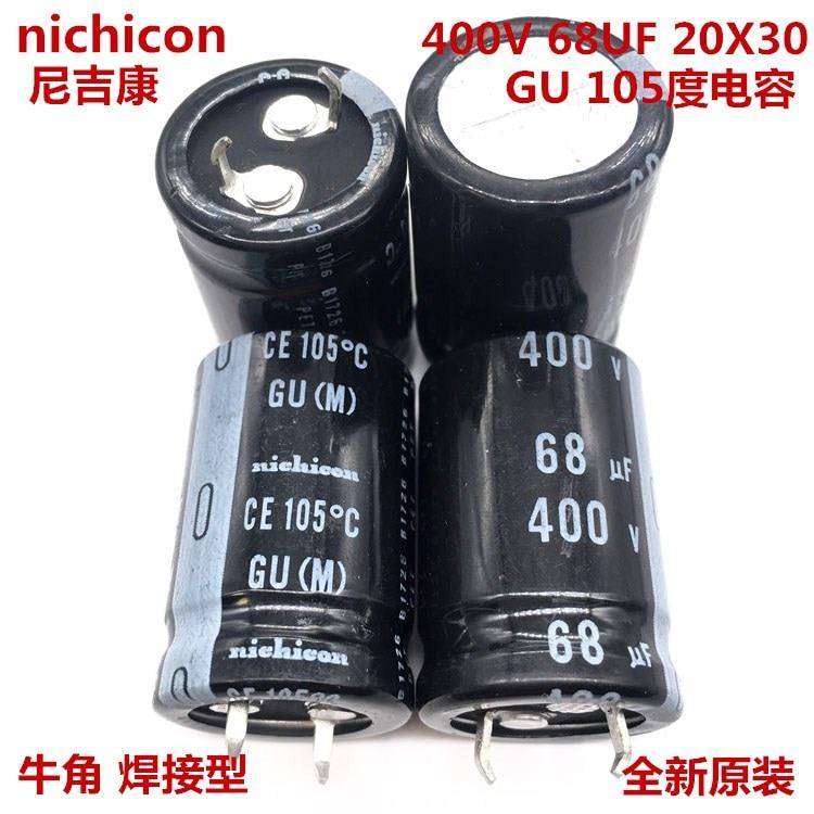 2 uds/10 Uds 68uf 400v Nichicon GU 20x30mm 400V68uF Snap-en PSU condensador