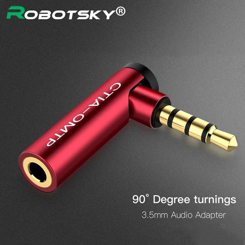 Robotsky 3,5mm macho a hembra 90 grados adaptador en ángulo recto Convertidor para auriculares conector de micrófono de audio conector de clavija ESTÉREO