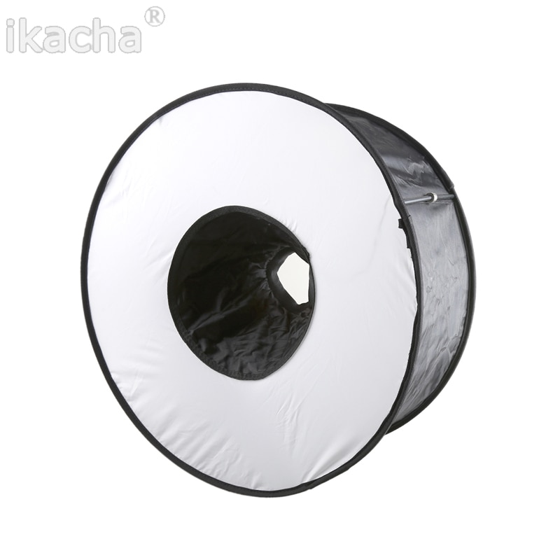 Portable 45CM Round Flash Diffuser Universal Folded Ring Flash Diffuser Softbox for Macro Portrait Photography
