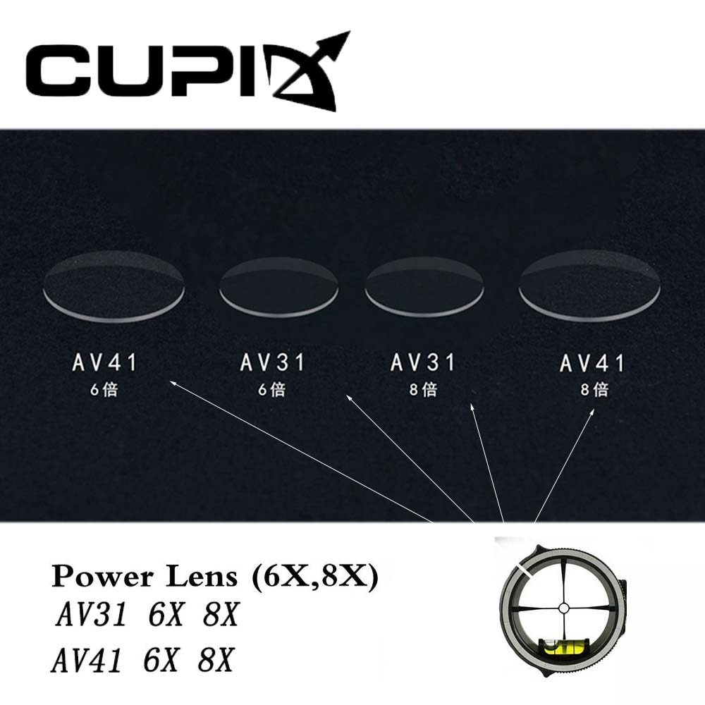 Lente de potencia de vista de arco compuesto 6X 8X diámetro de resina 35mm/45mm accesorios para Vista de alcance AV31/ AV41 para caza con arco