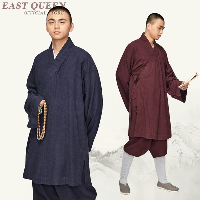 Monge budista vestes roupas traje masculino shaolin monge vestes zen meditação roupas kk2088 y