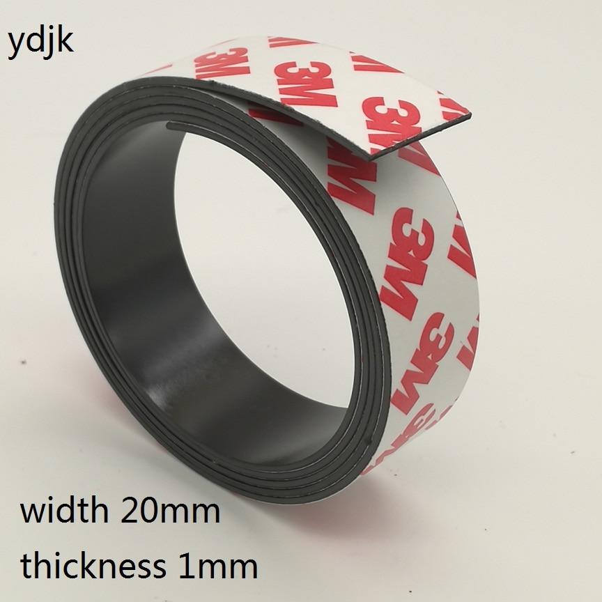 1 metro/lote ímã de borracha 20*1mm auto-adesivo fita magnética flexível largura 20mm espessura 1mm 20x1mm