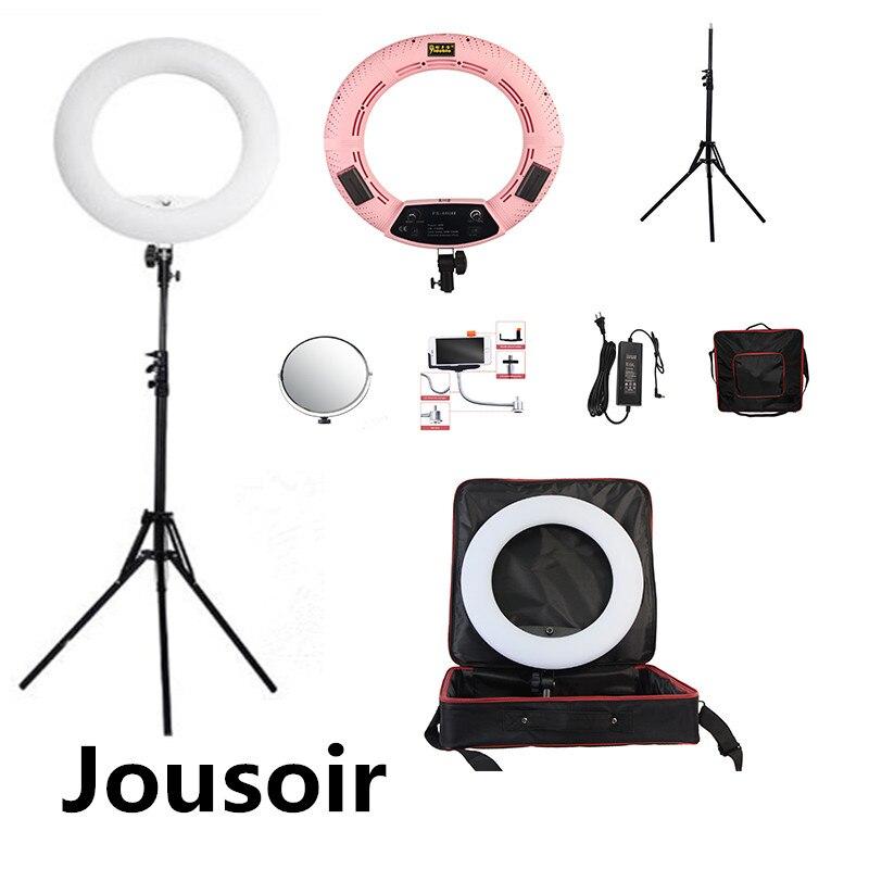 "FS-480II Rosa 5500K regulable foto de cámara/estudio/teléfono/Video 18 ""48W 480 Anillo de luz LED lámpara LED + trípode 2M + bolsa suave CD50"