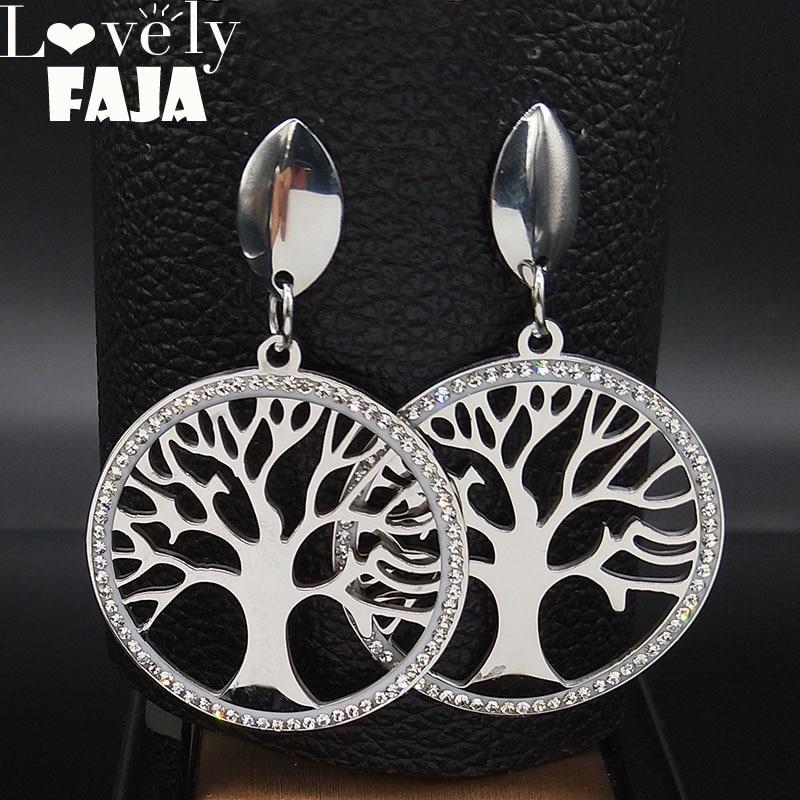 Pendientes de acero inoxidable con forma de árbol de la vida para...
