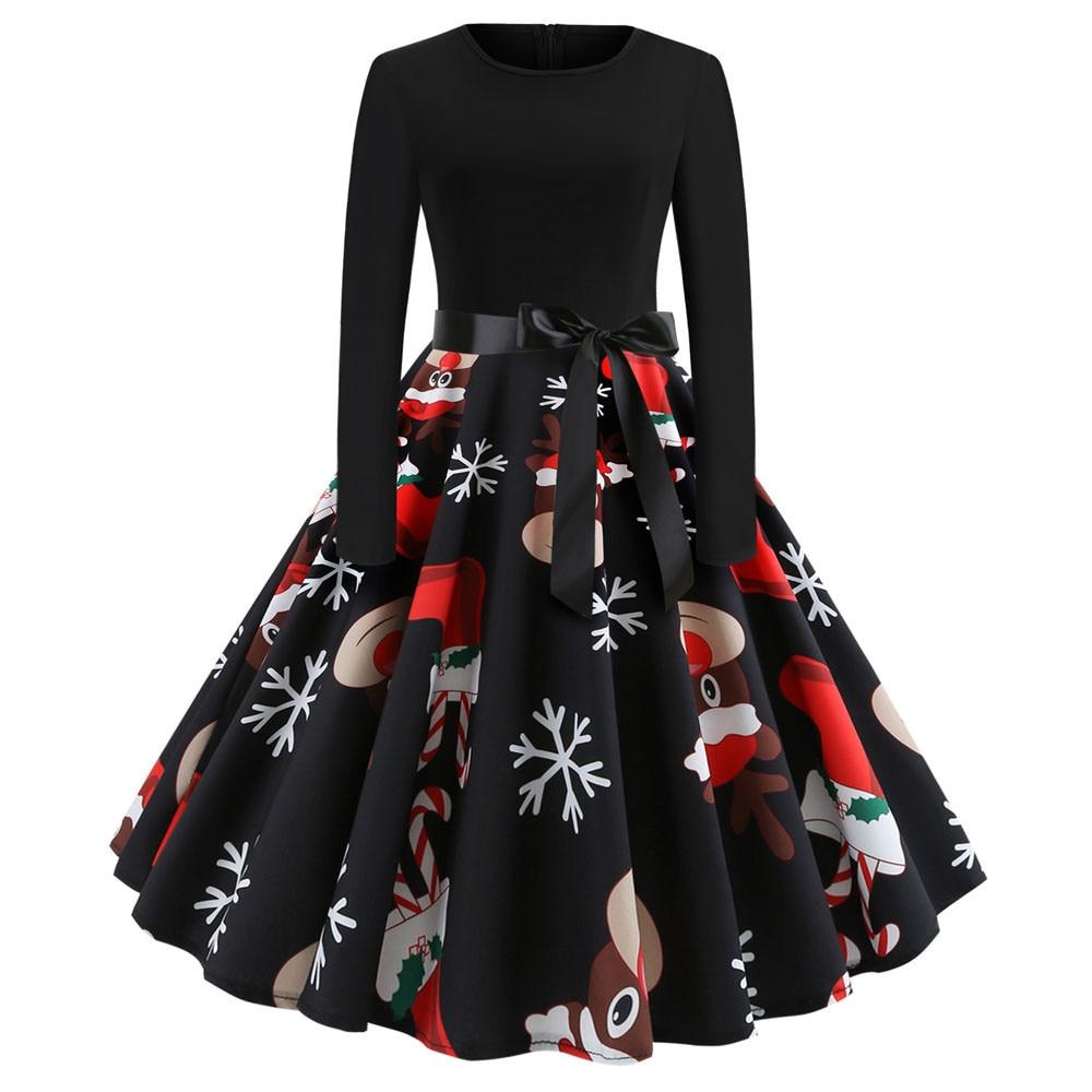 Vestidos de Navidad de invierno para mujer, Túnica Vintage Swing Pinup elegante vestido de fiesta de manga larga informal de talla grande con estampado negro G0525 #20