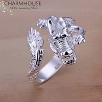 wedding bands 925 silver rings for men women dragon finger ring adjustable anel anillo bague femme fashion jewelry accessories