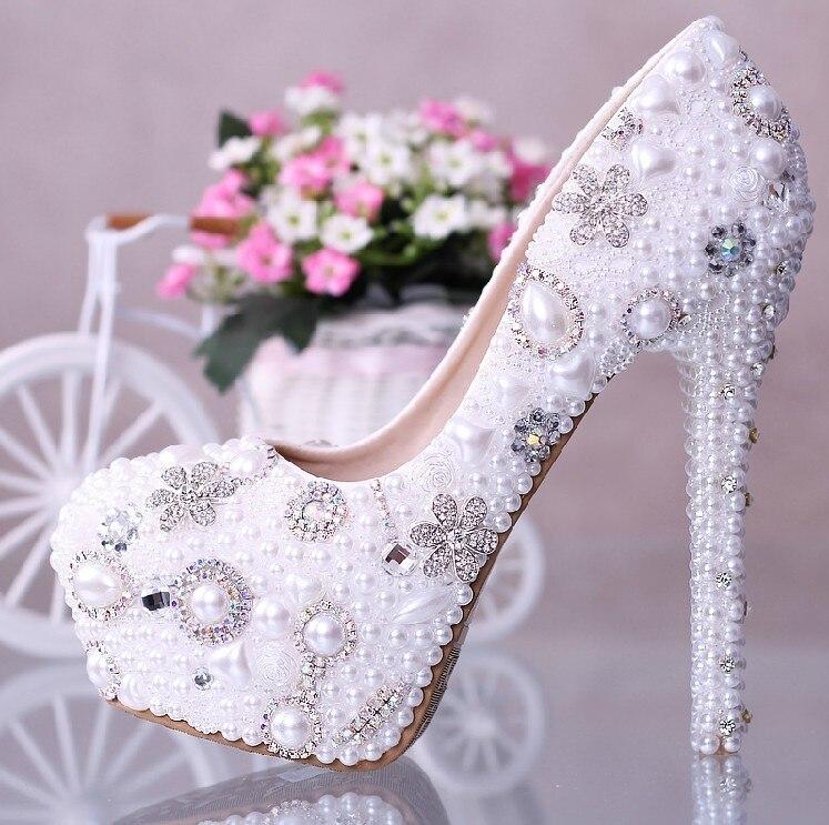 2018 hermosos zapatos de boda de tacón alto de 14 cm elegantes zapatos de novia de boda con zapatos de fiesta de imitación de perlas para mujer