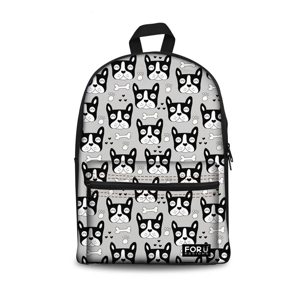 Personalizado patrón de Bulldog Francés mochilas escolares Mochila Escolar para niñas Mochila Escolar Junior Mochila para libros Mochila Escolar