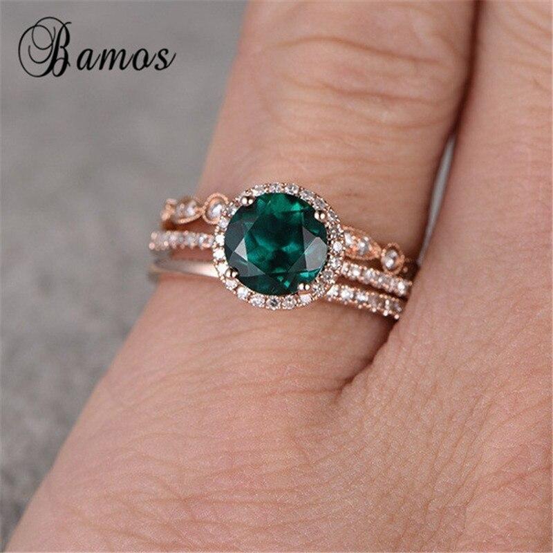 Bamos Empilhável Conjunto Verde Zircon do Anel de Noivado Do Vintage Rose Gold Filled Anéis de Casamento Para As Mulheres Jóias Conjuntos De Noiva de Luxo