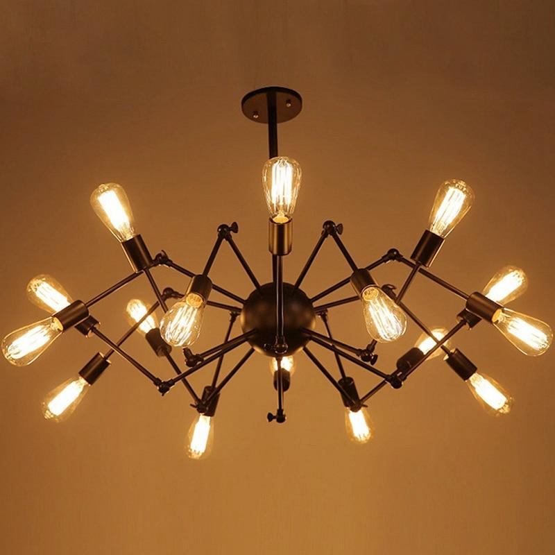 Luces colgantes LukLoy, lámpara de luz de araña colgante Industrial, lámpara moderna ajustable, lámpara de Luz Retro nórdica para sala de estar, lámpara de luz de Loft