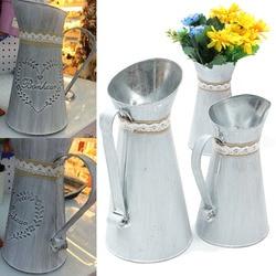 Jarro rústico para decoração de casa, 2 tamanhos, estilo country, vaso de mesa, vintage, shabby, chique, jardim, rega, chaleira, decoração para casa