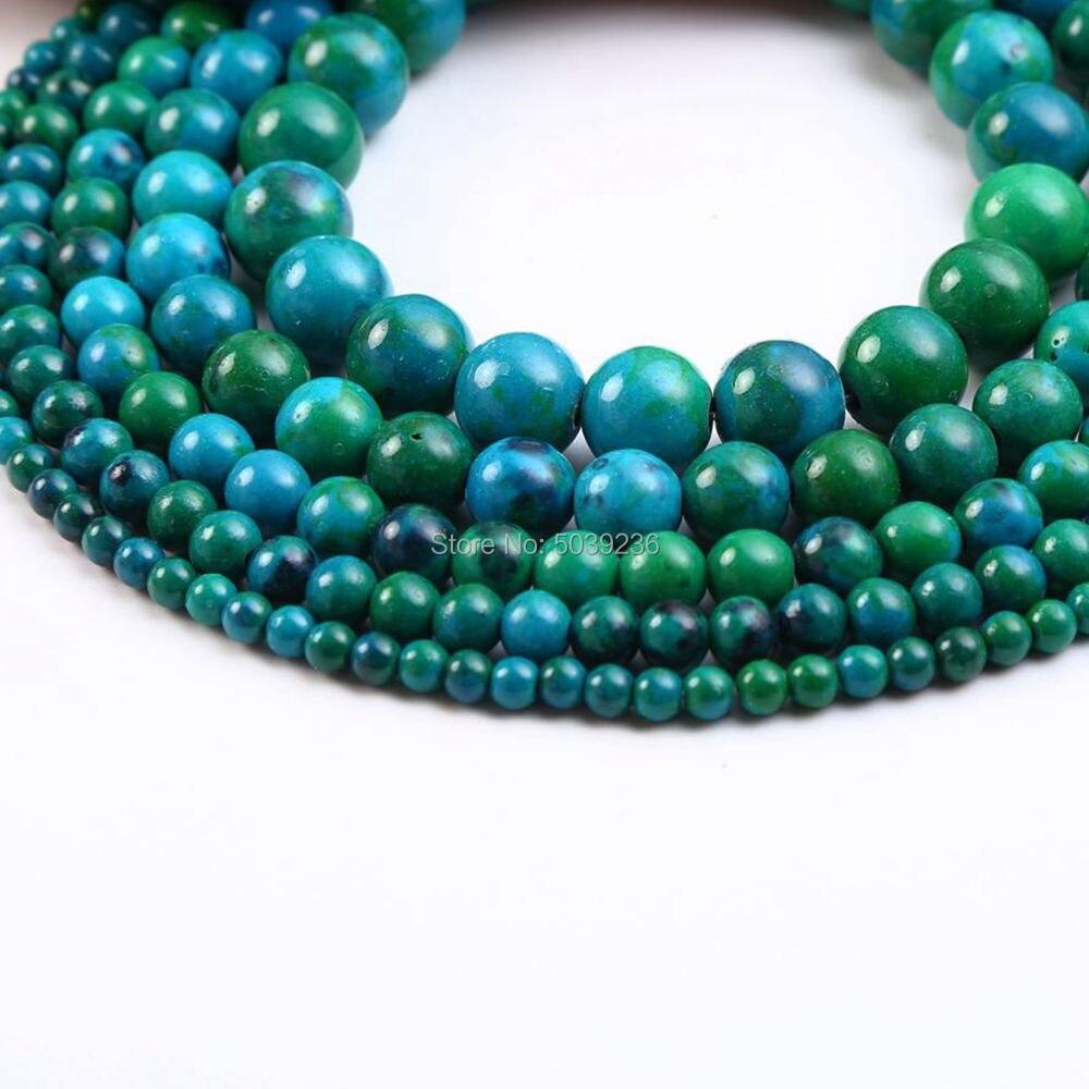 Al por mayor a granel Natural piedra crisocola suelta perlas cuentas para fabricación de joyería DIY pulsera collar 4-12mm