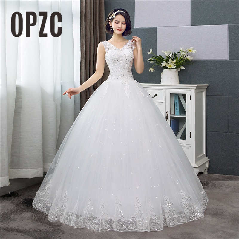 Cheap Korean Style V-Neck Lace Tank Sleeveless Floral Print Ball Gown Wedding Dress 2021 New Fashion Simple estidos de noivas CC