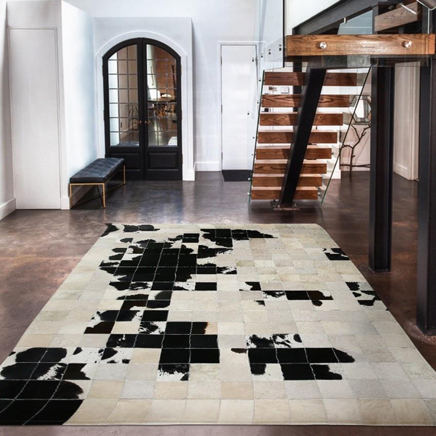 Estilo americano couro de retalhos tapete, tamanho grande genuíno natural cowskin pele tapete, sala estar tapete decorativo escritório