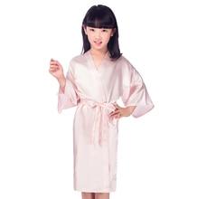 Enfants rose fausse soie Robe enfants Kimono Yukata Robe demoiselle dhonneur fleur fille Robes Robe de nuit enfant bébés vêtements de maison JA15