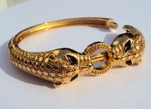 Léopard noir yeux 22K 23K 24K Thai Baht jaune or massif finition bijoux Bracelet lourd 43G BA18