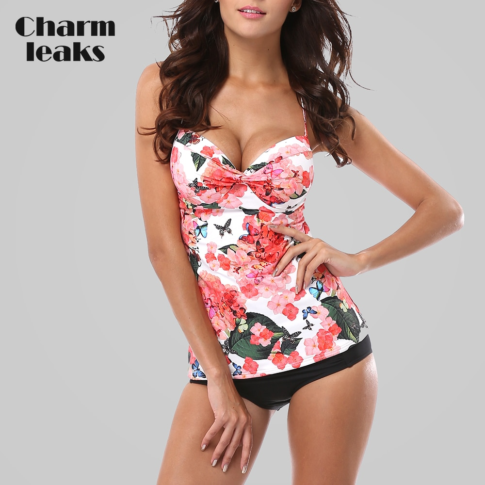 Charmleaks Tankini Set Women Swimsuits Retro Floral Print Swimwear Padded Push Up Bikini Bathing Suit Beach Wear lace up print tankini set swimwear